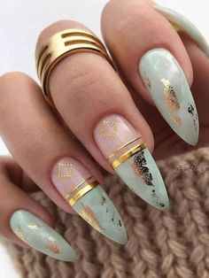What manicure would you choose? Rate the collection of new ideas manicure.Nail art could be the art of nail … Marble Nail Designs, Marble Nail Art, Acrylic Nail Designs, Gold Nail Art, Frensh Nails, Foil Nails, Coffin Nails, Nails With Foil, Glitter Nails