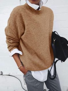 Jinguio Teen Couples Turn-down Collar Sweater Casual Long Sleeve Solid Loose Pullover Boat Neck Casual Sweaters, Casual Tops, Casual Shirts, Sweaters For Women, Business Casual Sweater, Women's Sweaters, Winter Sweaters, Smart Casual, Pullover Shirt