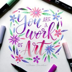handlettering: you are a work of art Brush Lettering Worksheet, Brush Lettering Quotes, Hand Lettering Art, Creative Lettering, Lettering Styles, Lettering Design, Calligraphy Quotes Doodles, Brush Pen Calligraphy, Calligraphy Letters