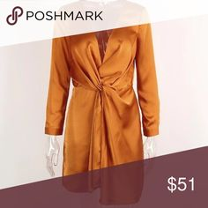 Satin Plunge Wrap Dress Above the knee Mini Satin Wrap Dress in Pumpkin Spice | Material is Poly/Rayon | Super sexy for a night out ✨ Will arrive in less than 2 weeks - Like to be notified upon arrival ⏳ Dresses Mini
