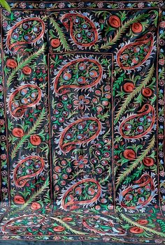 Village Drawing, American Houses, Contemporary Embroidery, Embroidery Motifs, Ikat Fabric, Fabric Strips, Wedding Night, Central Asia, Cotton Silk