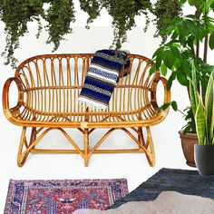 Vintage Bamboo Settee Franco Albini Style Rattan Chair Love