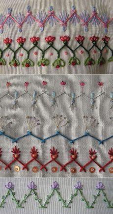 Идеи вышивки для декора одежды и аксессуаро… Ideas de bordado para ropa y accesorios. Hand Embroidery Videos, Embroidery Stitches Tutorial, Embroidery Sampler, Embroidery Hoop Art, Embroidery Techniques, Cross Stitch Embroidery, Embroidery Ideas, Border Embroidery Designs, Embroidery Flowers Pattern