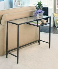 New Glass Steel Console Table or Desk with Storage Shelf Room Furniture Decor TV