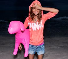 PINK Signature Zip Hoodie, Denim Cut-Off Shorts and a giant puppy!