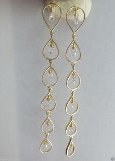 Handmade Jewellery Yellow Citrine Champagne Quartz Silver Plated 9 Grams Earring 1.75 Long