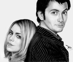Black and White Still of 10th Doctor and Rose