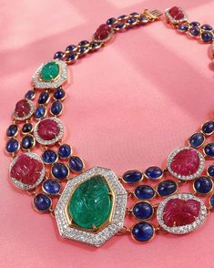 A regal, one-of-a-kind necklace with cabochon sapphires and carved rubies and emeralds. ❤️💚💙 Sapphire Jewelry, Diamond Jewelry, Gemstone Jewelry, Beaded Jewelry, Jewelry Necklaces, Diamond Necklaces, High Jewelry, Luxury Jewelry, Jewelry Art