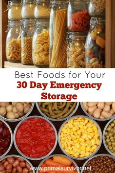 Best Foods for Your 30 Day Emergency Storage. 30 days of food is the absolute minimum you should stockpile for emergency preparedness. Getting emergency food for 30 days may seem simple enough, but don't just go out and buy a zillion cans of soup, boxes of crackers, and bulk grains.