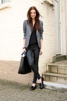 Black Loafer, Black Jeans, Black Blouse, Grey Blazer