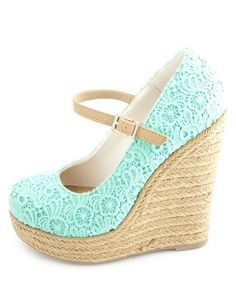 Crocheted Lace Mary Jane Espadrille Wedges: Charlotte Russe