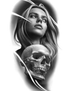 Clock Tattoo Design, Skull Tattoo Design, Tattoo Design Drawings, Tattoo Sleeve Designs, Sleeve Tattoos, Skull Girl Tattoo, Girl Face Tattoo, Skull Tattoos, Face Tattoos For Women
