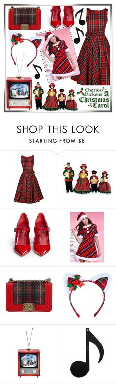 """""""Red dress for Christmas carols"""" by daklovesfashion ❤ liked on Polyvore featuring Santa's Workshop, Dolce&Gabbana, WithChic, Chanel, Leg Avenue, plaid, reddress, holiday and redplaid"""