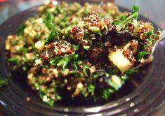 Quinoa, Kale and Avocado Salad Recipe ~1 Cup uncooked quinoa 3 Stalks of kale 1 Sheet of dried nori 1/2 Cucumber 1/2 Cup pine nuts 1 Avocado 1 Tbsp sesame seeds 1 Tbsp lemon juice 1 Tbsp rice vinegar Salad dressing to taste*