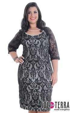 VESTIDO PLUS SIZE 10443 na Clássica Moda Evangélica - Moda Feminina