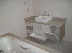 Resultado de imagem para medida para espaço de roupa suja no banheiro
