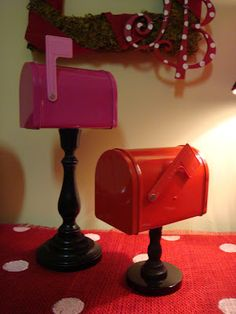 Wooden candlestick and dollar tree mailbox.