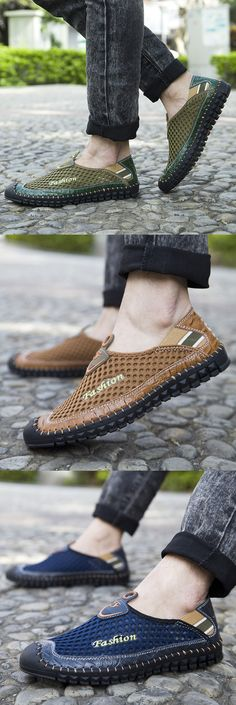 US$26.32 Men Stitching Anti-collision Toe Mesh Splicing Breathable Outdoor Loafers