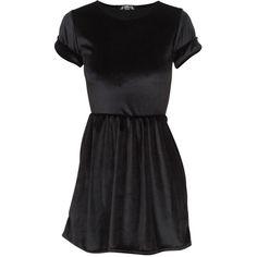 Short Sleeve Velvet Skater Dress in Black ($16) ❤ liked on Polyvore featuring dresses, vestidos, short dresses, short sleeve dress, short-sleeve maxi dresses, mini dress, short velvet dress and short-sleeve dresses