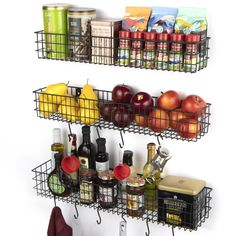 Install our Kansas storage basket to your kitchen and start saving area for your tools and create your rustic kitchen decor. These baskets for organizing will be aesthetically pleasing. Our wire wall basket set will be a space saver solution for kitchen organization. These wire baskets for storage looks simple yet holds plenty. This wall hanging basket fits anywhere in your home. Use it as entryway organizer, bathroom organizer, spice rack or magazine holder, and its s hooks for hanging are also Wire Wall Basket, Wire Fruit Basket, Wire Basket Storage, Wire Storage, Storage Sets, Wire Baskets, Baskets On Wall, Storage Rack, Hanging Basket