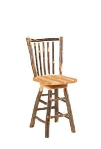 Amish Rustic Cabin Hickory Stick Back Swivel Bar Stool