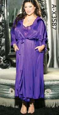 A-X3587 Long Tricot Robe  Long heavenly plus size robe of stretch lace and supple tricot, matches A-X3585 long heavenly gown for a beautiful bridal peignoir set... Hot Pink, Black, White, Purple Plum, 1X-2X or 3X-4X