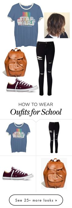 """""""school day"""" by lily-kahlon on Polyvore featuring Junk Food Clothing, Miss Selfridge, Madewell and Converse"""
