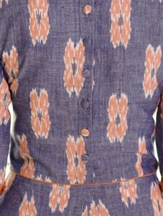 Blue-Orange Box Pleated Handloom Ikat Cotton Dress