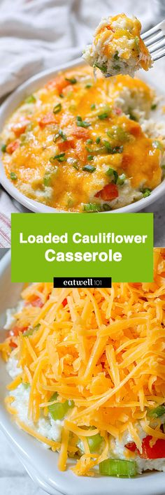 Talk about comfort food! This loaded cauliflower casserole is a healthier alternative to mashed potatoes, but far more flavorful! It offers the same texture with significantly fewer calories and ca…