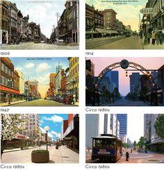 Vintage postcards of Evansville's Main Street.