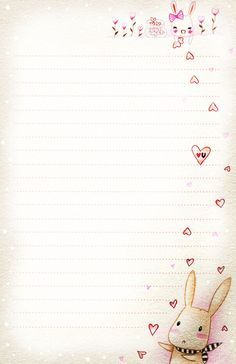 Bunny love letter paper in kawaii style - very cute! Envelopes, Kawaii Stationery, Pocket Letters, Printable Paper, Agenda Printable, Free Printable Stationery, Note Paper, Journal Cards, Love Letters