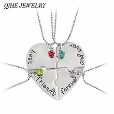 "QIHE JEWELRY 4pcs/set ""best friend forever and ever"" BFF Friend Necklace Set 4 Pieces Heart Shape Puzzle Hand Stamped Friendship"