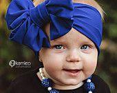 Royal Blue Messy Bow Headwrap