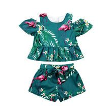 Toddler Kids Baby Girls Clothes Sets Fashion Summer Flamingo Floral Shoulderless T-shirts Tops Bow Belt Shorts Sets Ropa de niña, Girls Summer Outfits, Short Outfits, Girl Outfits, Summer Clothes, Blusas Crop Top, Crop Top Shirts, Crop Tops, Sleeveless Outfit, Outfit Sets