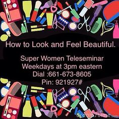 "Ladies are you ready for a beauty break?  Patricia Henry is going to be hosting the Super Women Connection Daily Teleseminar today!!! Come and learn ""How to Look and Feel Beautiful"" As an online marketer, a business professional, a caregiver a devoted wife, a retiree, or a busy Mom, find the time for YOU!!!  Listen in as Patricia shares some simple tips to help you feel beautiful again. Learn how you can get that much needed beauty break to give your self-esteem a boost. Super Women, Business Professional, Caregiver, How To Feel Beautiful, Self Esteem, Connection, That Look, How Are You Feeling, Mom"