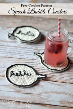 Free Crochet Pattern - Crochet speech bubble coasters | Make these super fun…