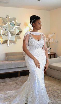 2019 Luxury African Off Shoulder Mermaid Wedding Dress With Tassels Vintage Black Girl Plus Size Aso Ebi Lace Styles, Lace Dress Styles, African Lace Dresses, Latest African Fashion Dresses, Dress Fashion, Lace Styles For Wedding, Plus Wedding Dresses, Elegant Wedding Dress, Bridal Dresses