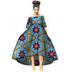 Fashion Summer African Dresses for Women Wax Print Snowflake Pattern Vestidos Long Dresses Bazin Riche Africa. African Dresses For Women, African Print Dresses, African Print Fashion, African Attire, African Wear, African Fashion Dresses, Fashion Prints, Fashion Outfits, Womens Fashion