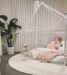 pink and white girl room, girl room ideas, nursery room ideas, Frame bed, house bed, bed house, Montessori nursery wooden house, baby bed, toddler beds, bedroom interior children furniture