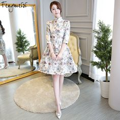 Competent 2018 Knee Length Cheongsam Traditional Chinese Style Short Dress Womens Spring Velour Qipao Slim Party Dresses Vestido S-3xl A Great Variety Of Goods Women's Clothing