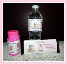 Butterfly Birthday Water Bottle Labels Bubble by GMCHDesigns, $3.00