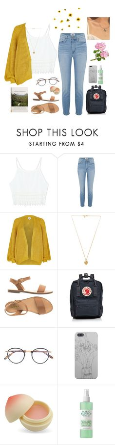 """""""darling tears"""" by melindsx ❤ liked on Polyvore featuring Paige Denim, River Island, Vanessa Mooney, Fjällräven, Garrett Leight, TONYMOLY and Mario Badescu Skin Care"""
