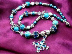 Blue Topaz Gemstone Necklace Silver Stardust by Chris of FantasyDesign, $45.00