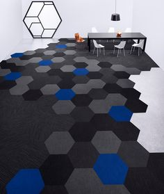 The shape of things to come. Shaw HEXAGON takes carpet tiles to the next level. NeoCon Silver Award.