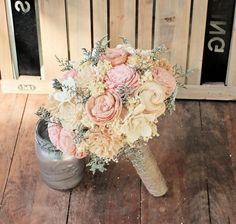 Handmade Alternative Wedding Bouquet Ivory Blush by CuriousFloral