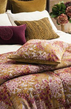 Giardino antique gold comforter and cushion #antiquegold #floral #mustardandpink #bedlinen #decor