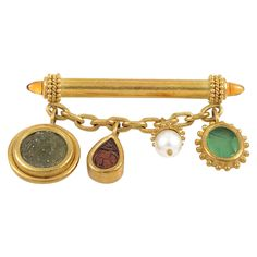 Elizabeth Locke Gemstone Gold Bar Brooch | From a unique collection of vintage brooches at https://www.1stdibs.com/jewelry/brooches/brooches/