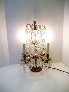 Stunning French Lighted Girandole Crystal by donDiLights on Etsy