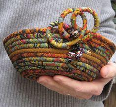 Coiled Fabric Basket - Beaded Batik