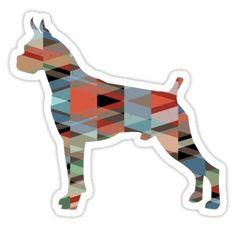 Boxer Dog Colorful Geometric Pattern Silhouette Sticker